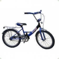"""Велосипед Марс 20"""" ручной тормоз+эксцентрик (синий/черный)"""