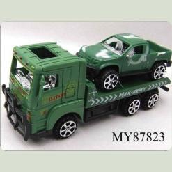 Военный грузовик с джипом, фрикционный