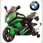 Детский электромотоцикл BMW S с приставными колёсами