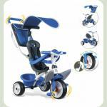 Детский металлический велосипед с козырьком, багажником и сумкой, синий, 10 мес. +