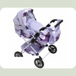 Коляска для кукол Tako 2 в 1 Фиолетовые цветы