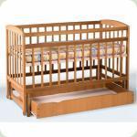 Кровать детская на шарнирах с откидной боковиной с ящиками подшипником (1200*600)(бук)