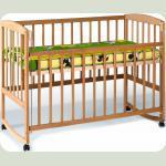 Кровать с подвиж.боков +дуги +колеса (1200*600)(бук)