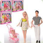 Кукла DEFA 8088 беременная, KEN, коляска с ребёнком, аксессуары, в кор-ке, 41-34-6,5см