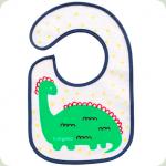 Махровый водонепроницаемый нагрудник I EAT AND I GROW Babyono Динозавр (831)
