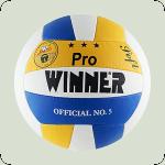 Мяч волейбольный  WINNER   Pro (пресс кожа) желто-синий