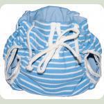 Тканевый подгузник на завязках Полосы голубой/белый