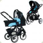 """Универсальная коляска 2 в 1 """"COBRA"""", Turquoise-black, цвет черный (голубой)"""