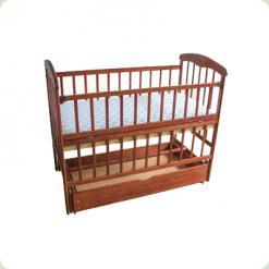 Дитяче ліжко Наталка Маятник Тонована з ящиком і регульованою боковиной