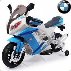 Дитячий електромотоцикл BMW S1000, з приставними колесами, блакитний