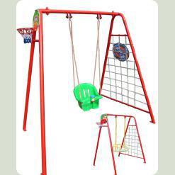 Гойдалки дитячі для вулиці (звичайне сидіння+ пластикове сидіння+баскетбольне кільце+ гладіаторська сітка+дартс)
