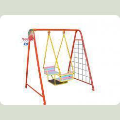 """Гойдалки вуличні, """"човник"""" для двох дітей на жорсткій підвісці (гойдалки+баскетбольне кільце+ гладіаторська сітка+дартс)"""