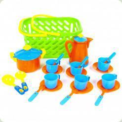 Ігровий набір посуду Kinderway в кошику (04-437) салатовий кошик