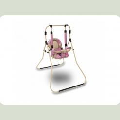 Качель з бампером Sofia (рожевий з бежевим)