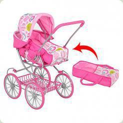 Коляска-люлька для ляльок Melogo (Metr +) 9673 A Рожево-малиновий