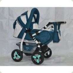 Коляска-трансформер ADAMEX YOUNG 102 (blue - white eco-leather)