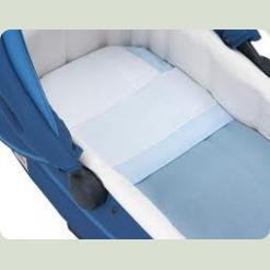 Комплект білизни для люльки - Білий / світло-блакитний