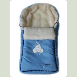 Конверт Womar 04 Zaffiro з капюшоном (велюр-мікрофібра) блакитний