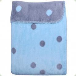 Ковдра-плед в горошок Womar Zaffiro 100% бавовна 100х150 см Блакитний / Сірий