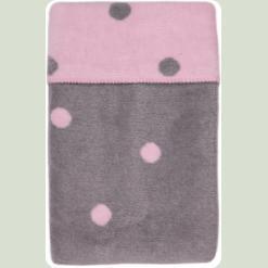 Ковдра-плед в горошок Womar Zaffiro 100% бавовна 100х150 см Рожевий / Сірий