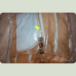 Ковдра-плед в смужечку Womar 100% бавовна 75x100 см Коричнево-блакитний (38983)