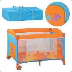Ліжко- манеж Bambi M 1703 Помаранчево -блакитний