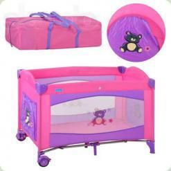 Ліжко- манеж Bambi M 1704 Рожевий
