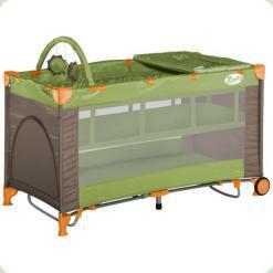Ліжко-манеж Bertoni Zippy 2 Layer Plus Rocker Green & Beige