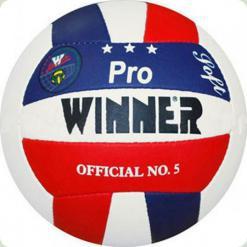 М'яч волейбольний WINNER Pro (прес шкіра) біло-синьо-червоний