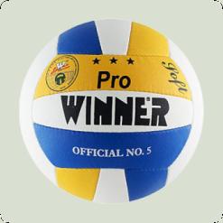 М'яч волейбольний WINNER Pro (прес шкіра) жовто-синій