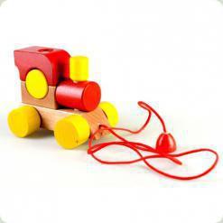 Паровозик  з мотузкою Червоний