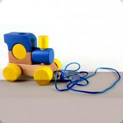 Паровозик  з мотузкою Синій