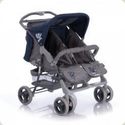 Прогулянкова коляска Bertoni Twin Blue & Grey Kids + Сумка
