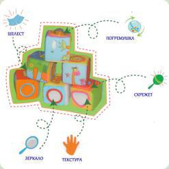 Розвиваючі м'які кубики Biba Toys Друзі джунглів (506LT)