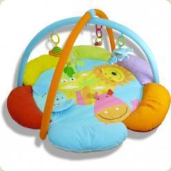 Розвиваючий килимок Biba Toys Квітка Друзі джунглів з мобілем і підсвічуванням (042JF)