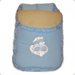 Спальний мішок Ассоль на овчині Блакитний