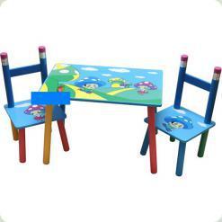 Столик з двома стільчиками Baby Tilly Грибочки (2880-2 / W02-286)