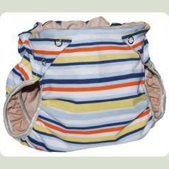 Тканинний підгузник на кнопках Смуги блакитний / оранж / жовтий