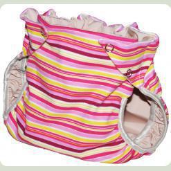 Тканинний підгузник на кнопках Смуги рожевий / бордо / жовтий