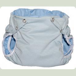 Тканинний підгузник на кнопках Смуги світло-блакитний / білий