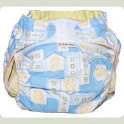 Тканинний підгузник на липучці Блакитний / собачки