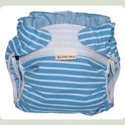 Тканинний підгузник на липучці Смуги блакитний / білий