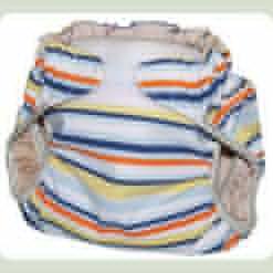 Тканинний підгузник на липучці Смуги блакитний / оранж / жовтий