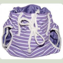 Тканинний підгузник на зав'язках Смуги бузковий / білий