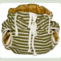 Тканинний підгузник на зав'язках Смуги хакі / білий