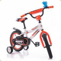 """Велосипед Azimut Fiber 14 """"Білий з оранжевим"""