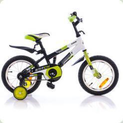 """Велосипед Azimut Stitch Premium з ручкою 14 """"Зелено-чорно-білий"""