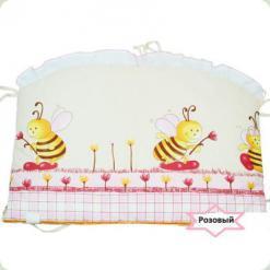 Захист на ліжко Ассоль Бджоли великі Рожевий