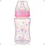 Антиколікова пляшечка з широким горлом BabyOno 403, 240 мл Рожева