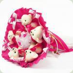 Букет з іграшок Ведмедики 5 малиновий 5292IT